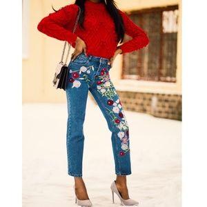 Yeanzijun 90s Embroidered Floral High Waist Jeans